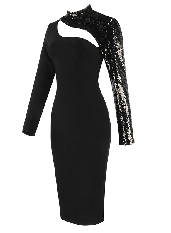 ALBERTINA Black Sequins Bandage Dress
