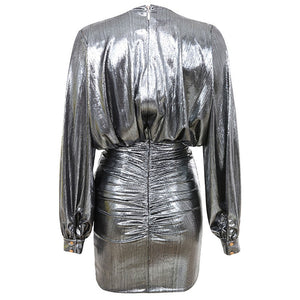 ALICIA Silver V Neck Long Sleeve Mini Party Bodycon Dress