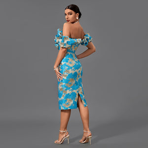 ALINE High Neck Long Sleeve cut off Bandage Dress