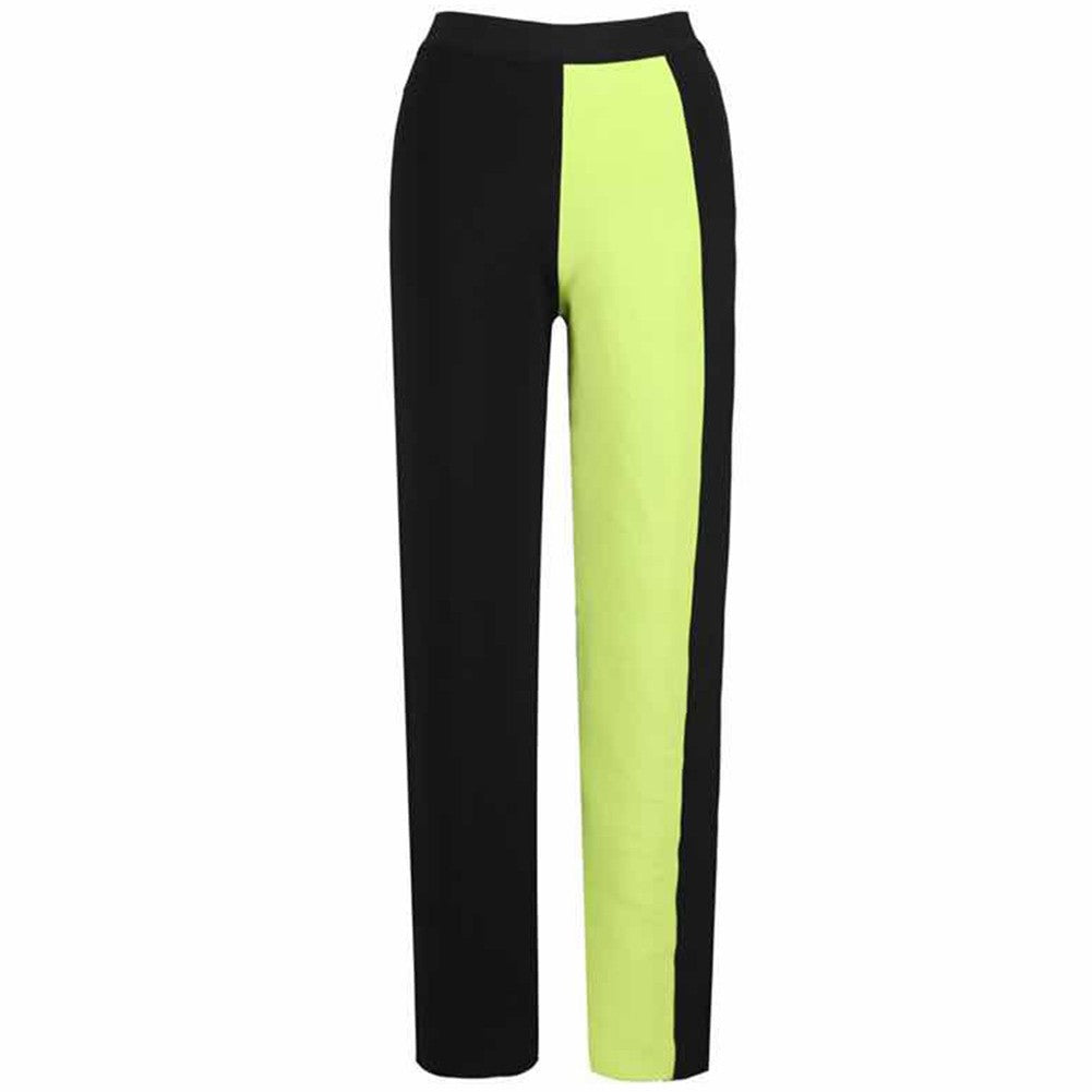 ALONIT Black Maxi Bandage Pants and Neon Top