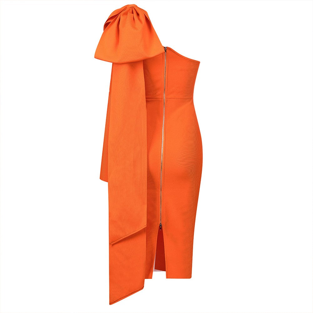 AMANDA Orange One Shoulder Long Sleeve Over Knee Bowknot Asymmetrical Bandage Dress