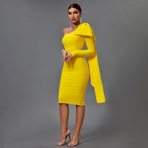 AMANDA  One Shoulder Long Sleeve Over Knee Bowknot Asymmetrical Bandage Dress