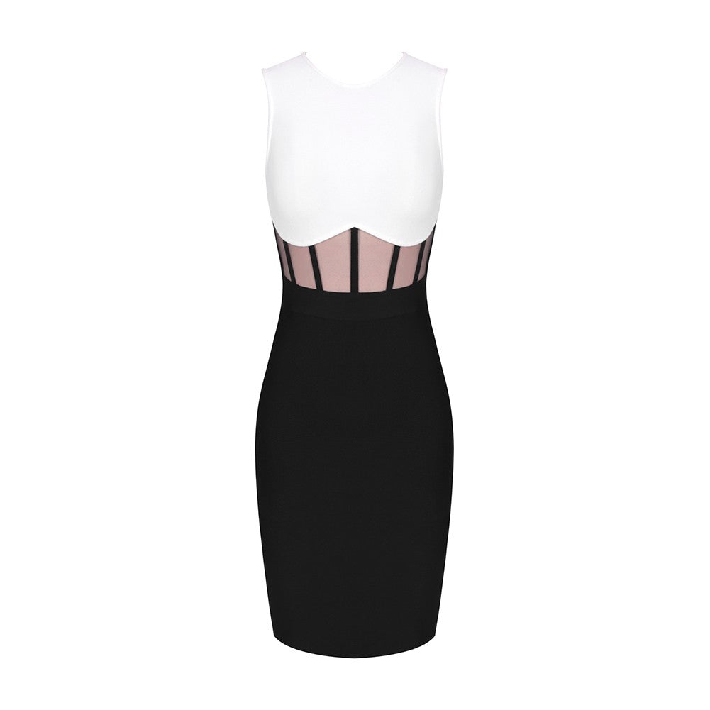 ANDREA ROUND NECK SLEEVELESS MESH MIDI BANDAGE DRESS