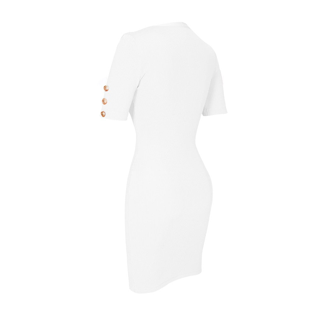 ANDY ONE SLEEVE MINI SEQUINS BODYCON DRESS