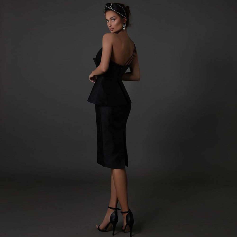 ARIS ROUND NECK LONG SLEEVE SLIT OVER KNEE BANDAGE DRESS