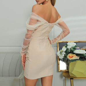 ARZU Nude Strappy Sleeveless One Piece Lace Spliced Bandage Dress