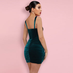 BARBARA STRAPY SLEEVELESS RUCHED MINI BODYCON DRESS