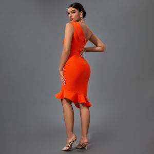 CAMYL TUBE TOP FRILL OVER KNEE BODYCON DRESS
