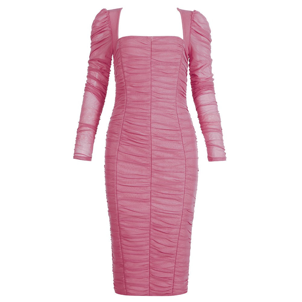 CHESNA White Strappy Sleeveless Over Knee Frill Bandage Dress