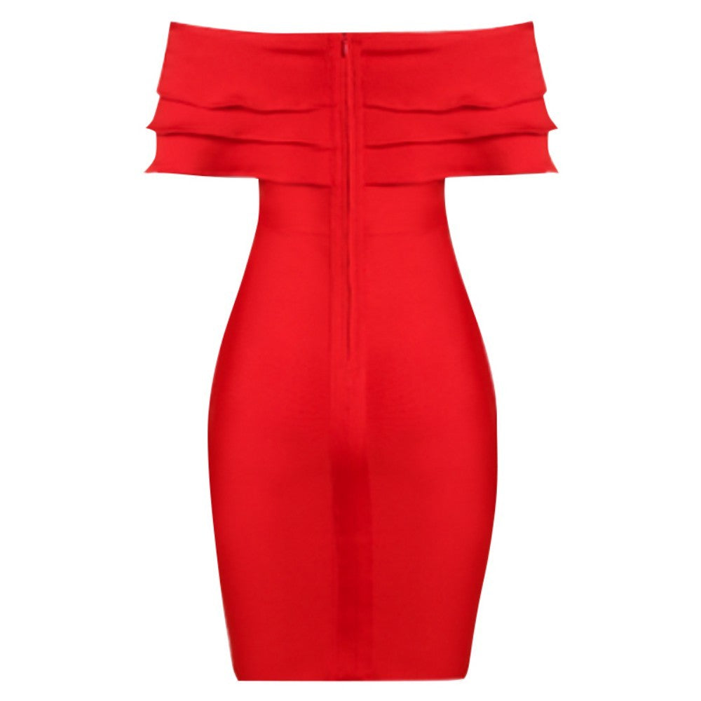 CINDY Sapphire Pearl Splicing Mini Long Sleeve Square Collar Bandage Dress