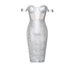 CLARA Off Shoulder Metallic Bandage Dress