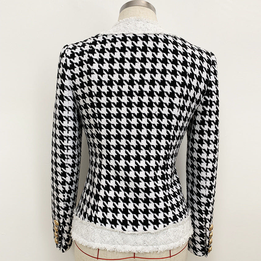 DACIA Black and White Mini Houndstooth Button Bodycon Suit