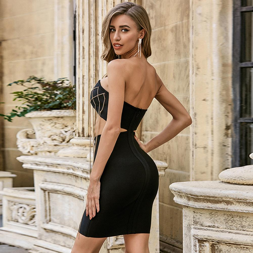 DEBRA STRAPLESS SLEEVELESS CUT OUT MINI BANDAGE DRESS