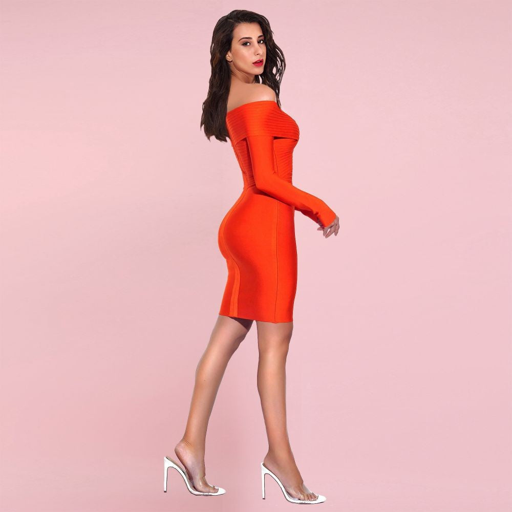 DENISE ORANGE  OFF SHOULDER LONG SLEEVE STRIPED MINI BANDAGE DRESS
