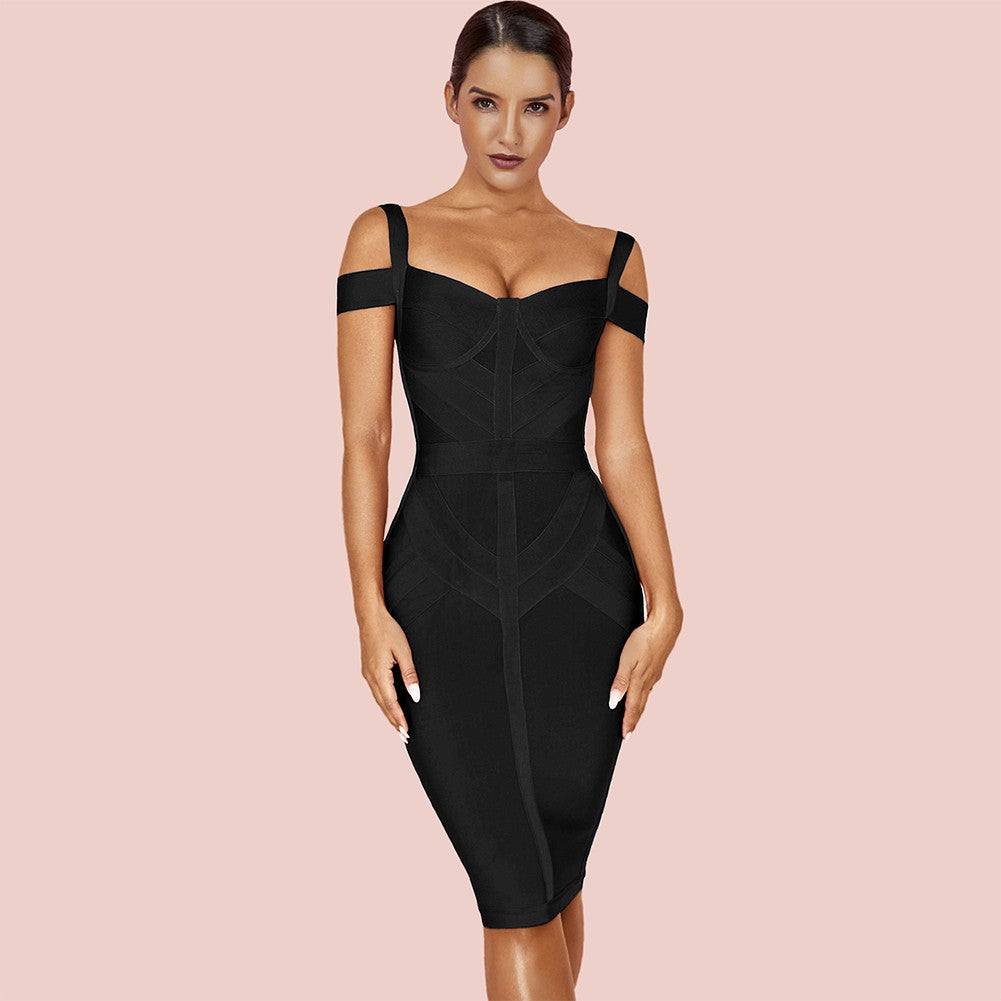 EKATERINA Strappy Short Sleeve Over Knee Striped Bandage Dress