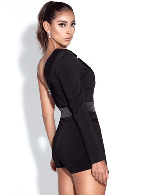 EMI Sequin Black One Sleeve Blazer Romper