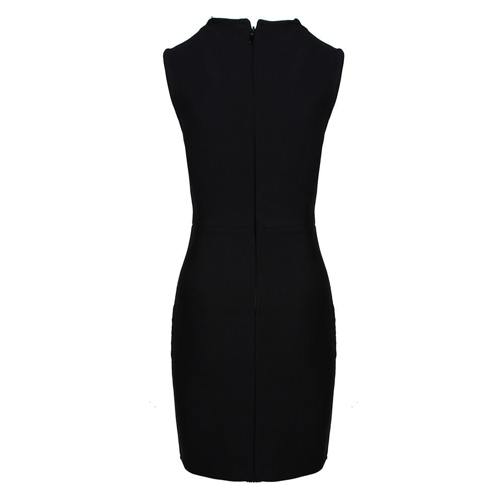 ESMA Black Zipper Plain Mini Long Sleeve Square Collar Bandage Dress
