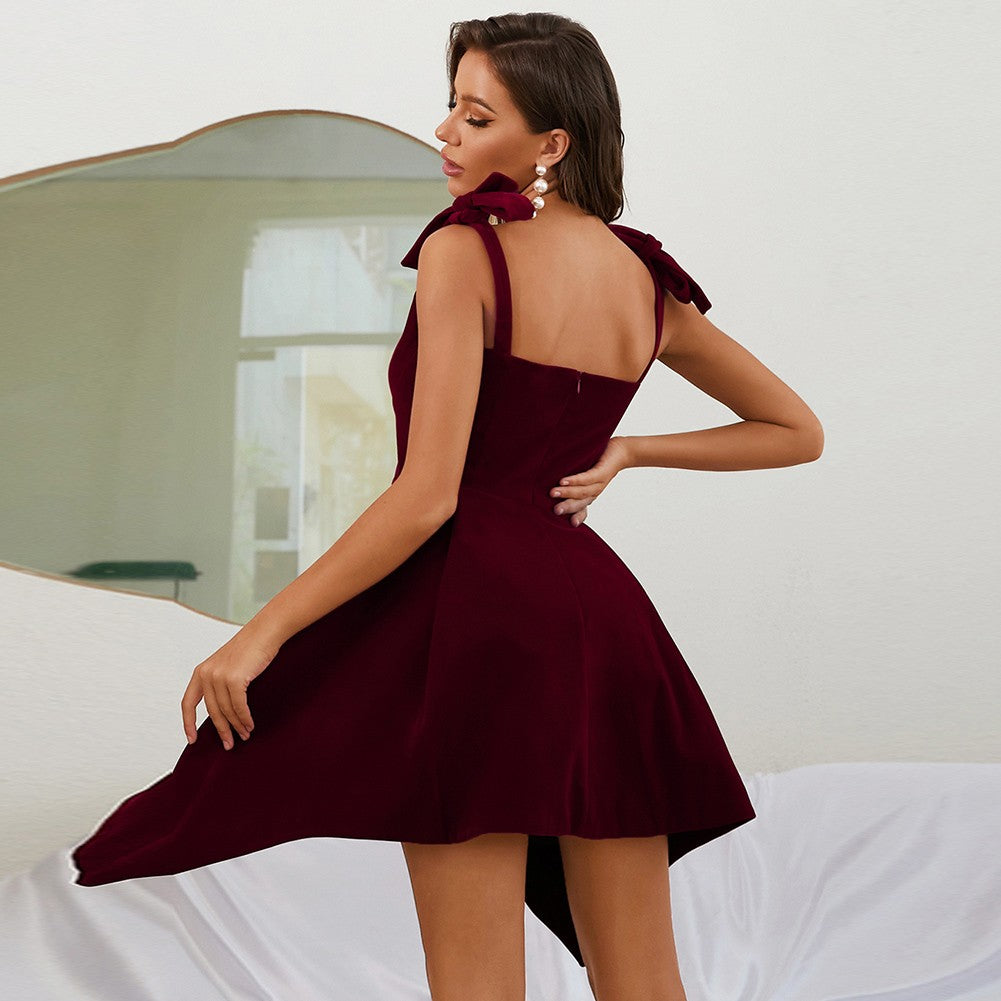EYEN ROUND NECK SLEEVELESS BACKLESS MINI BANDAGE DRESS