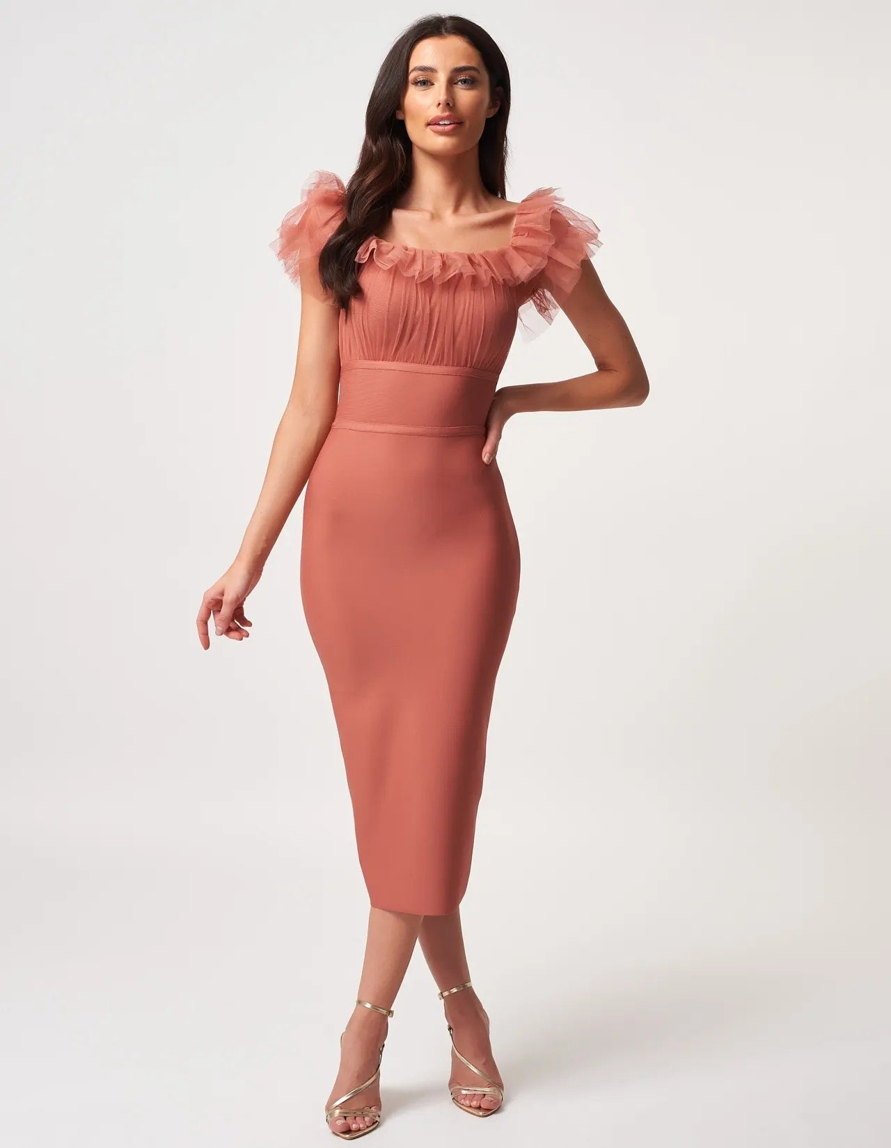 FIODORA Strapless Tull Banadage Dress