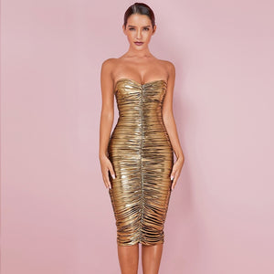 GISELLE Gold Strapless Sleeveless Over Knee Wrinkled Bodycon Dress
