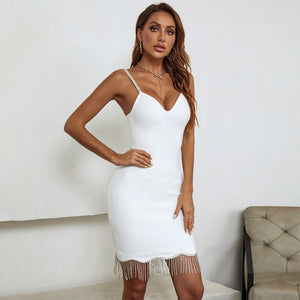 HELEN Black Strapless Sleeveless Mini Wrinkled Frill Bodycon Dress