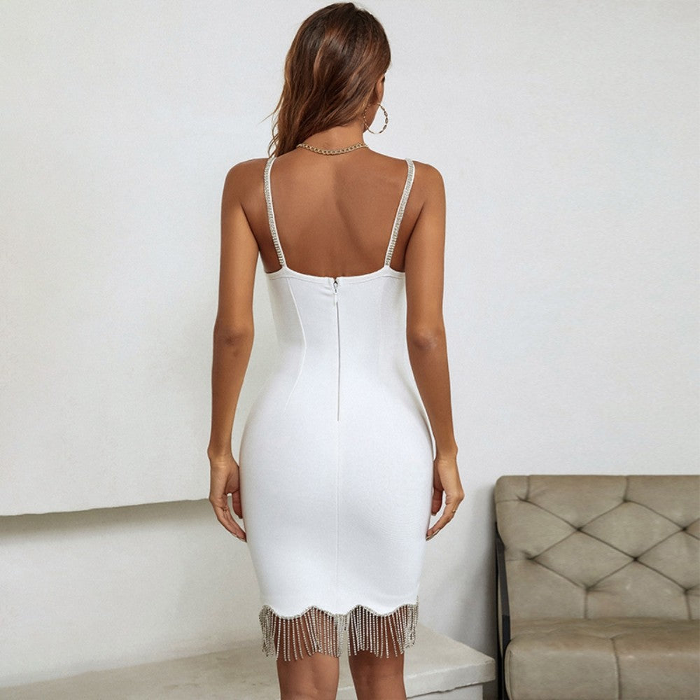 HELEN OFF SHOULDER SHORT SLEEVE SHINY MINI BANDAGE DRESS