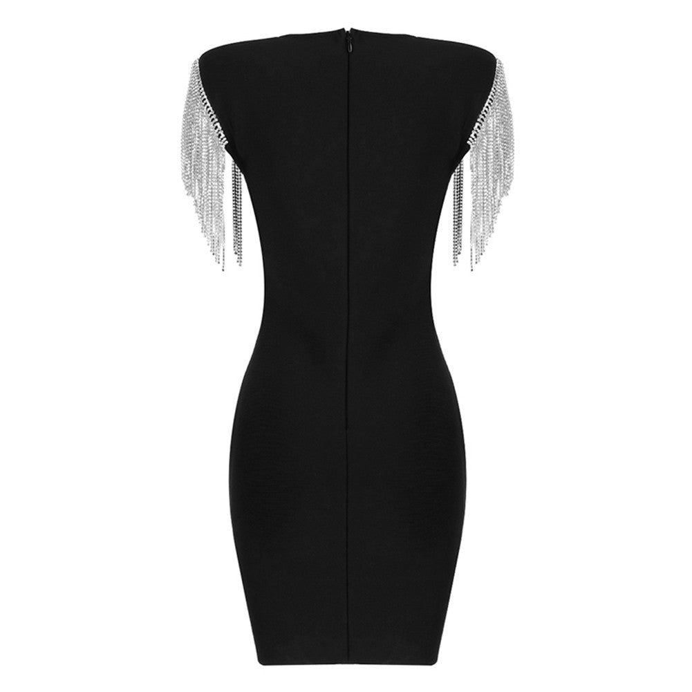 IONA Round Neck Long Sleeve Over Knee Frill Cutout Bandage Dress