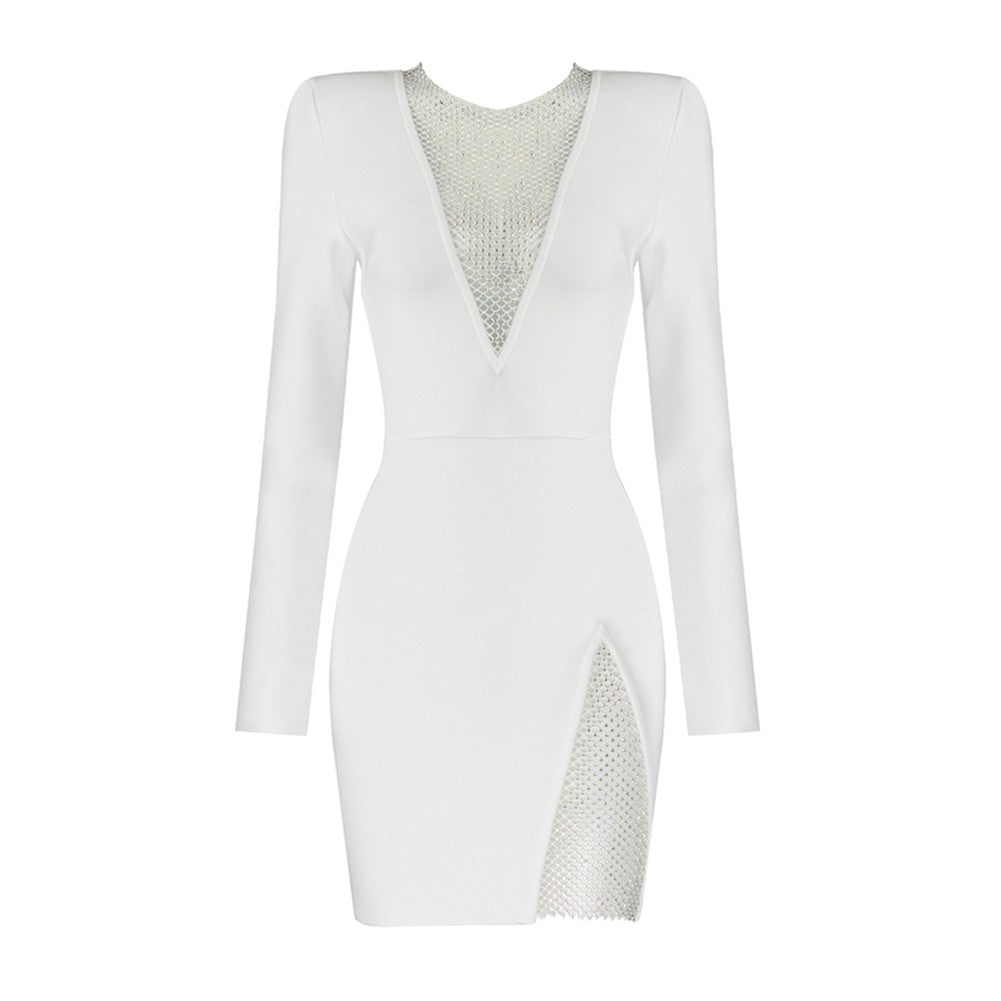 JENNEL HIGH NECK LONG SLEEVE RHINESTONE MINI BANDAGE DRESS