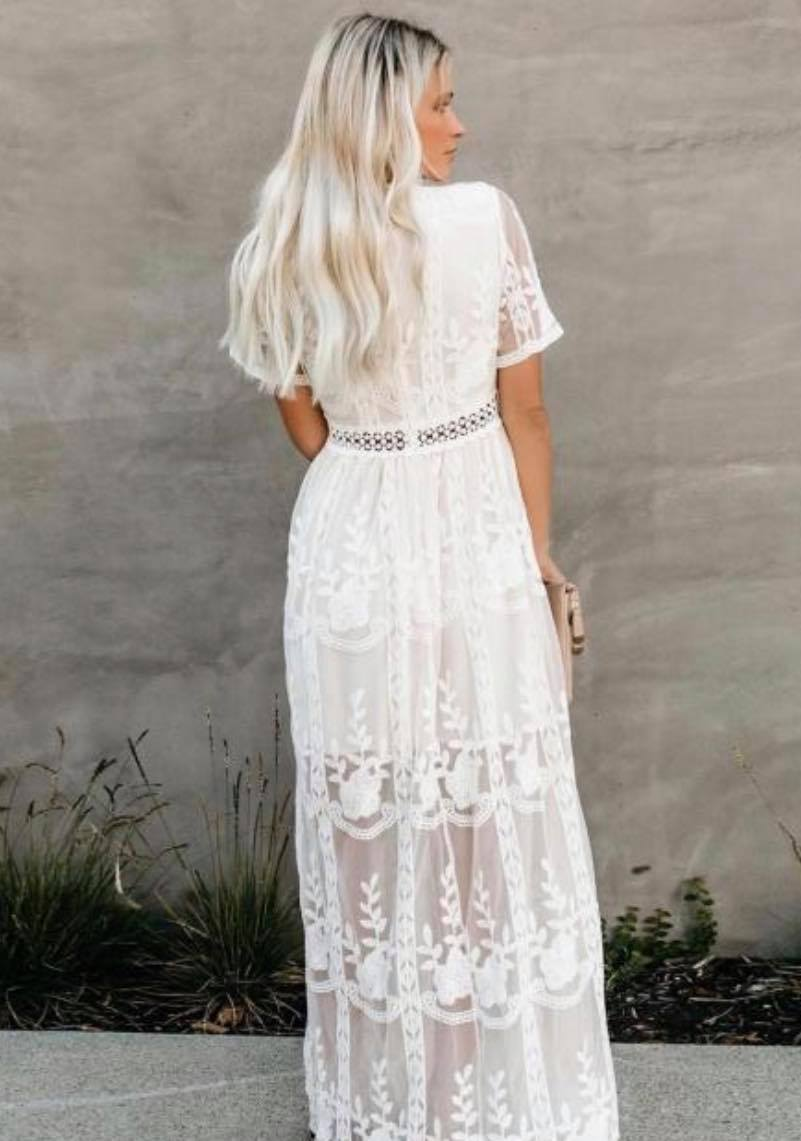 JIN Mesh Sheer Deep V-Neck Floral Embroidered Maxi Dress