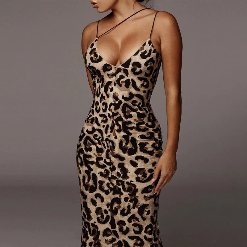 JULIA LEOPARD  PRINT STRAPY SEXY BODYCON DRESS