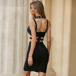 KATI STRAPY SLEEVELESS CUT OUT MINI BANDAGE DRESS