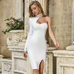 KIMBERLY HIGH NECK LONG SLEEVE ASYMMETRICAL MIDI BANDAGE DRESS