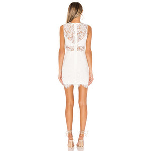 LIA Round Neck Sleeveless Lace Mini Bandage Dress