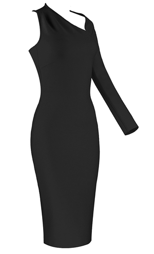 LORENA Asymmetrical Black Bandage Dress