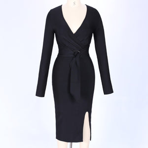 LARA Black V Neck Long Sleeve Over Knee Slitted With Belt Elegant Bandage Dress