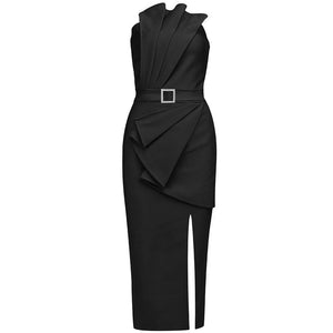LUCA HIGH NECK LONG SLEEVE ASYMMETRICAL MINI BODYCON DRESS