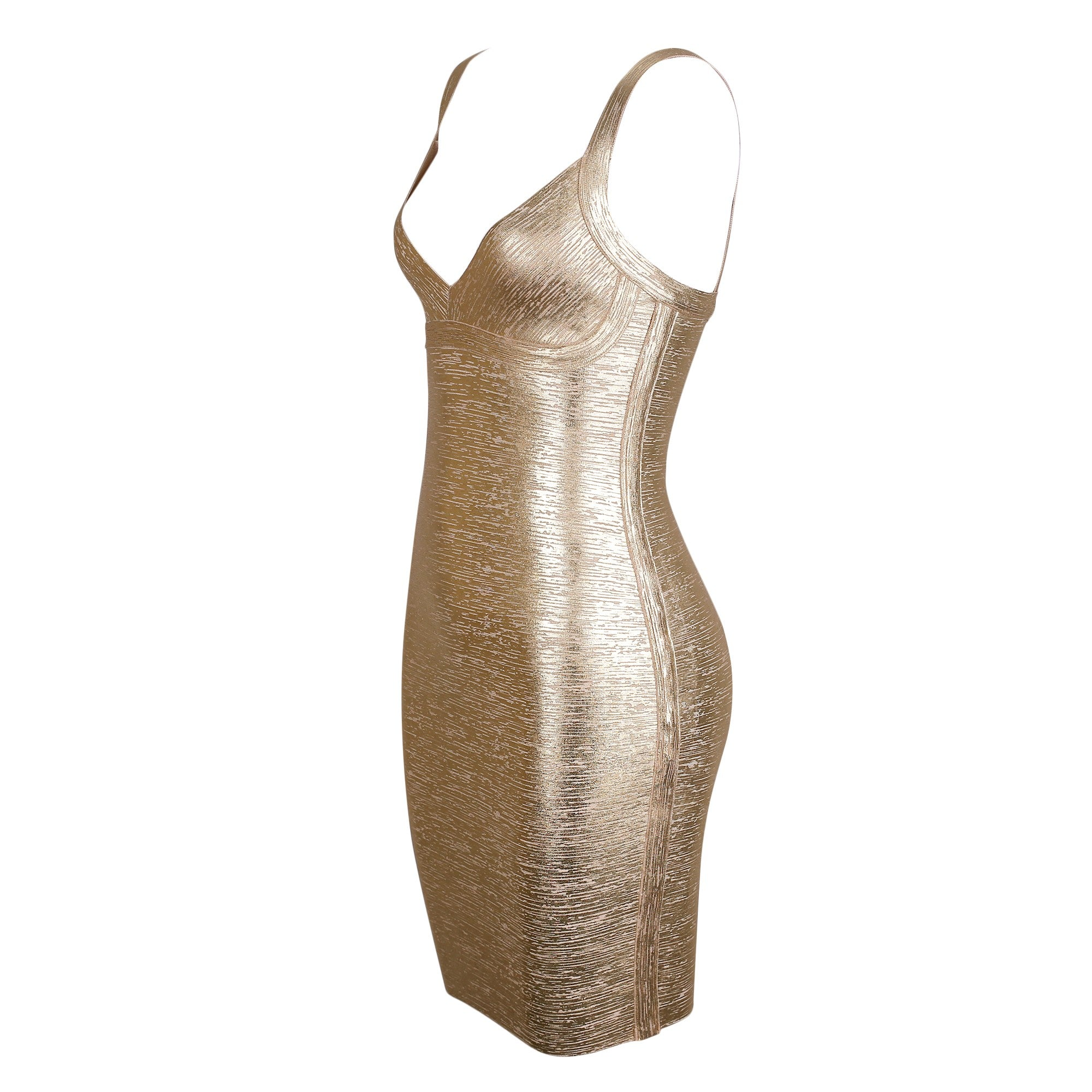 Lisa V Neck Sleeveless Mini Foil Printing Plain Bandage Dress