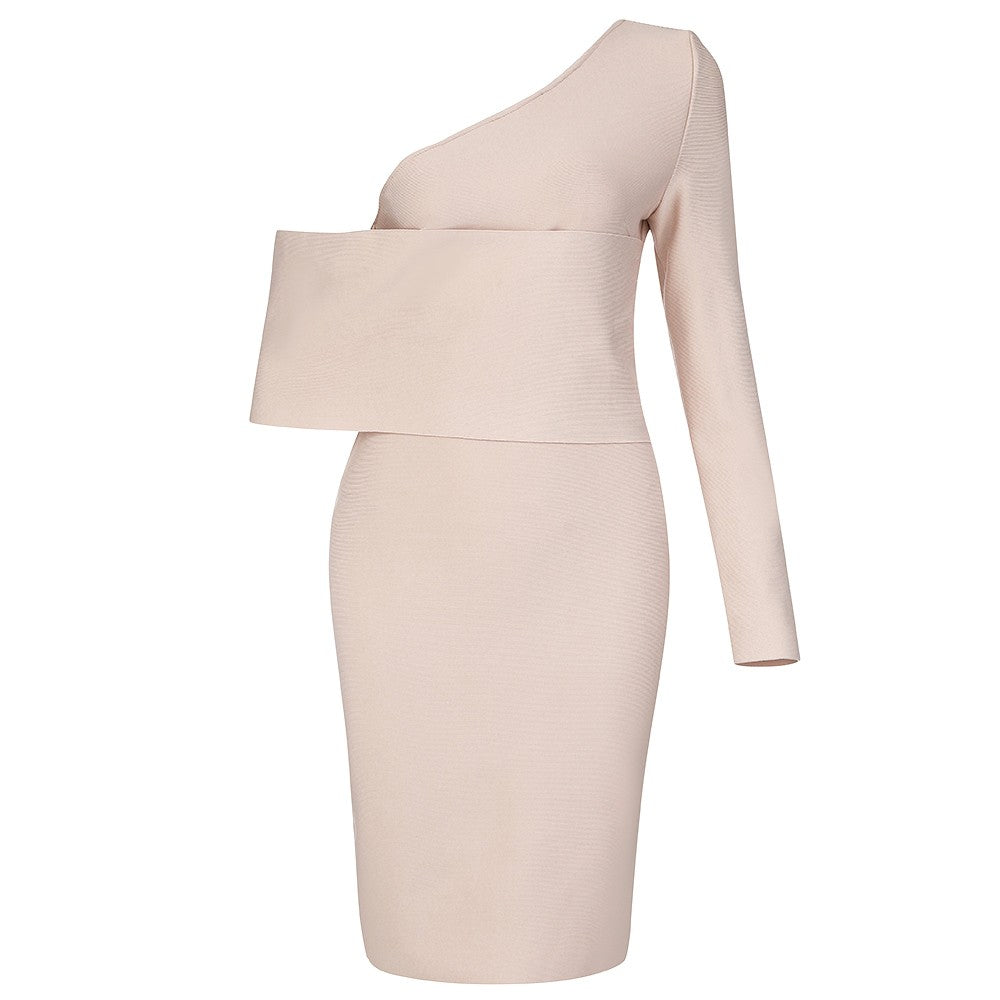 MANDI Apricot Strapless Sleeveless Mini Hollow out Ruched Bandage Dress