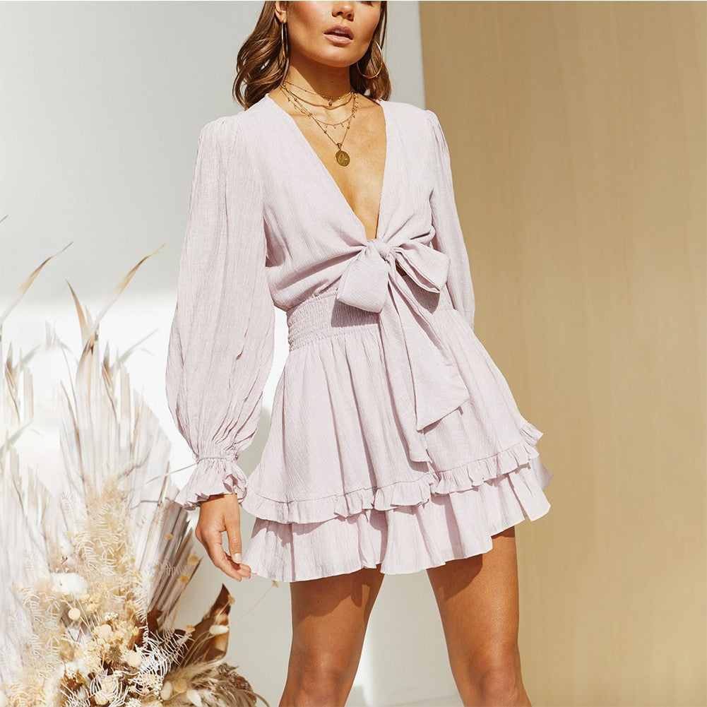 MARTA Frill Mini Long Sleeve V Neck Bodycon Dress