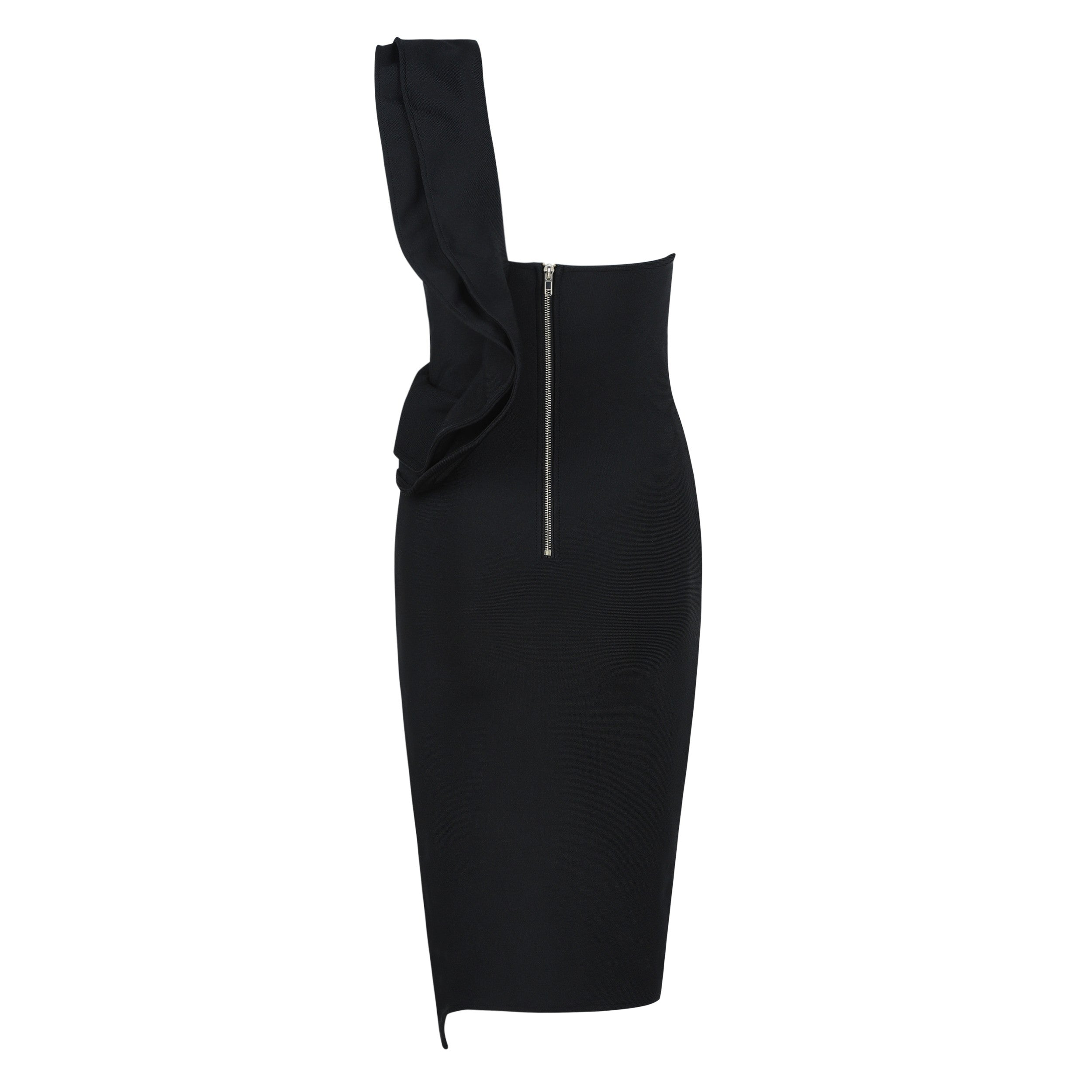 MATEA Black One Shoulder Sleeveless Over Knee Side Slitted Back Zipped Evening Bandage Dress