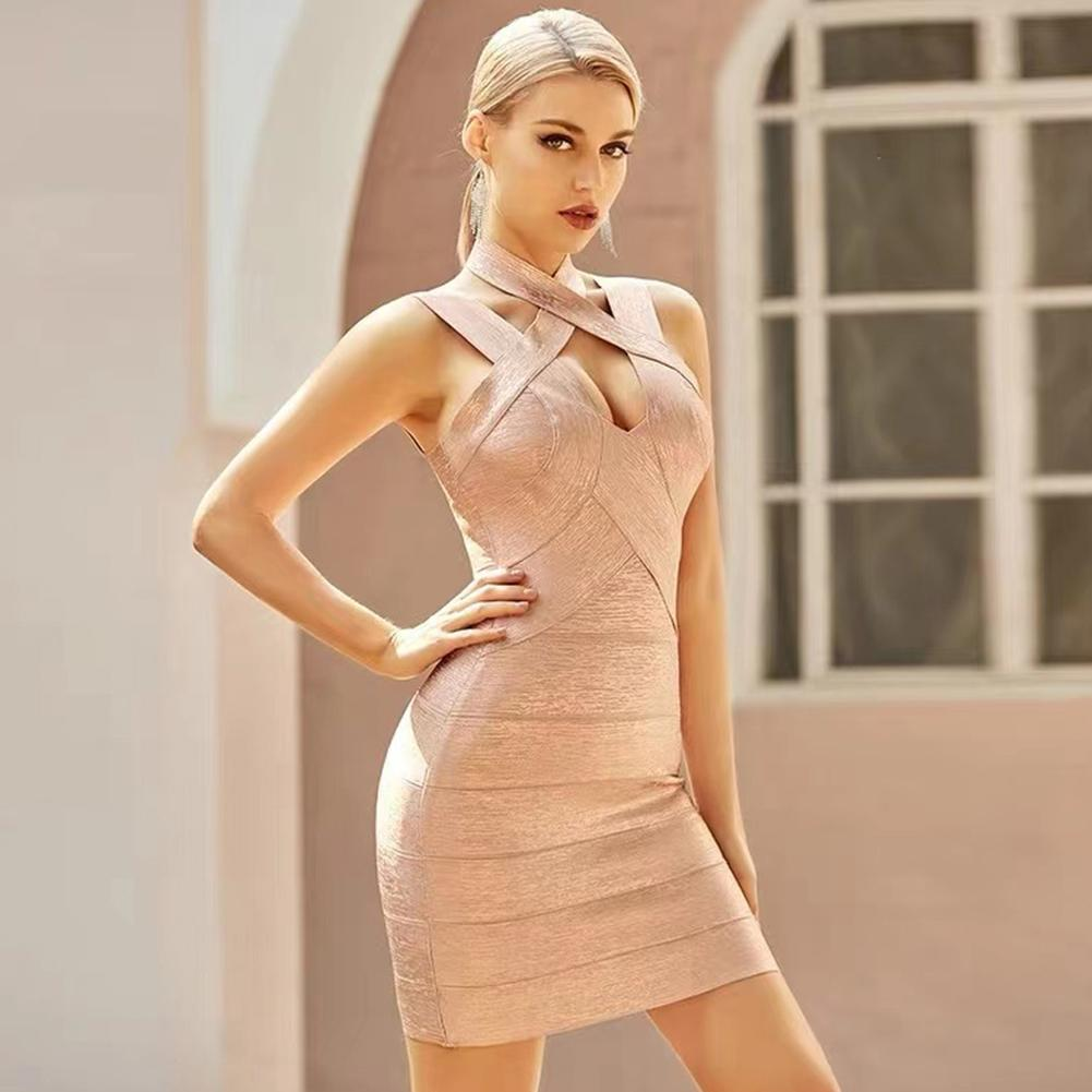 MELISA V NECK SLEEVELESS TASSELS MINI BANDAGE DRESS