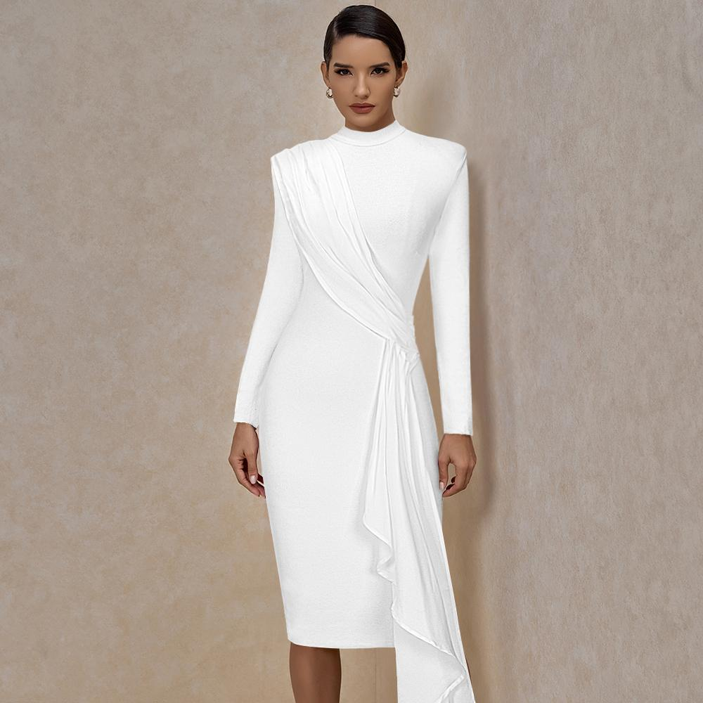 MIRNA ROUND NECK LONG SLEEVE FRILL MIDI BANDAGE DRESS