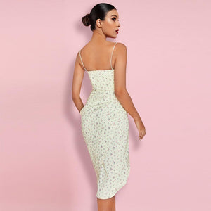 MONTI STRAPPY LEMON FLORAL BODYCON DRESS