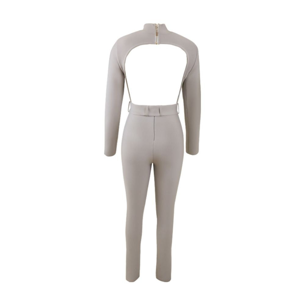 OLENA HIGH NECK LONG SLEEVE WITH BELT BANDAGE JUMPSUIT