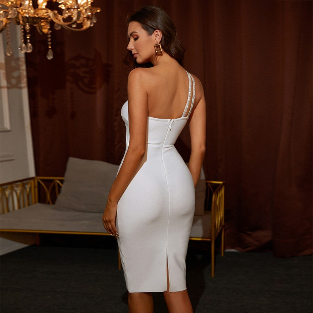 PALMA ONE SHOULDER LONG SLEEVE ASYMMETRICAL OVER KNEE BODYCON DRESS