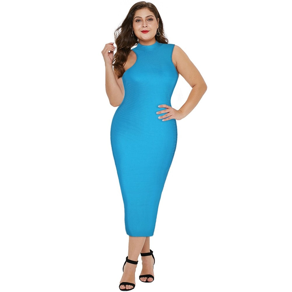 RITA PLUS SIZE Blue High Neck Sleeveless Over Knee Plain Bandage Dress