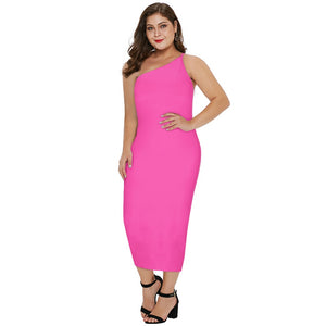 ROSELYN PLUS SIZE One Shoulder Sleeveless Over Knee Plain Bandage Dress
