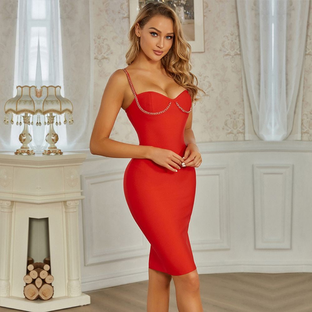 SALOME STRAPPY SLEEVELESS METAL STUDDED MIDI BANDAGE DRESS