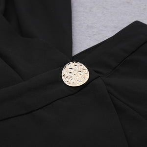 SAMIRA HALTER LONG SLEEVE LACE MINI BANDAGE DRESS