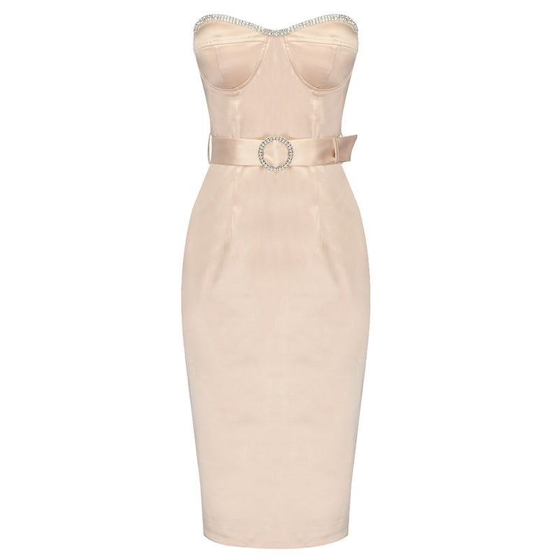 SANDRA Strapless Satin Bodycon Dress